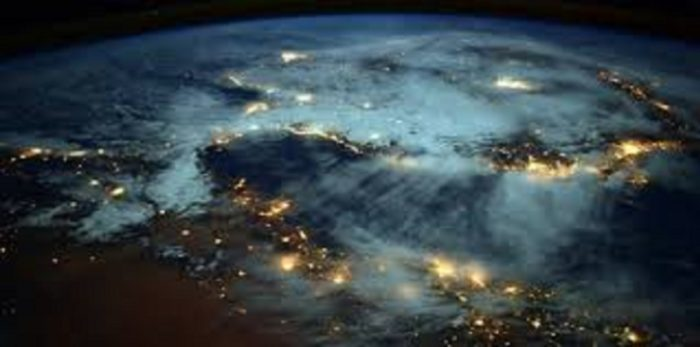 A aerial shot of the Earth