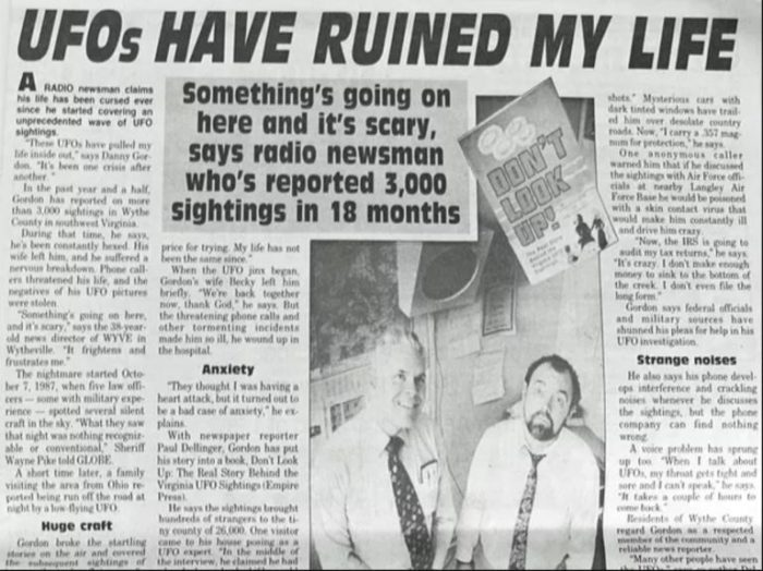 A newspaper clipping reporting on the claims of Danny Gordon