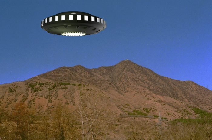 A UFO superimposed onto a picture of Mount Musine