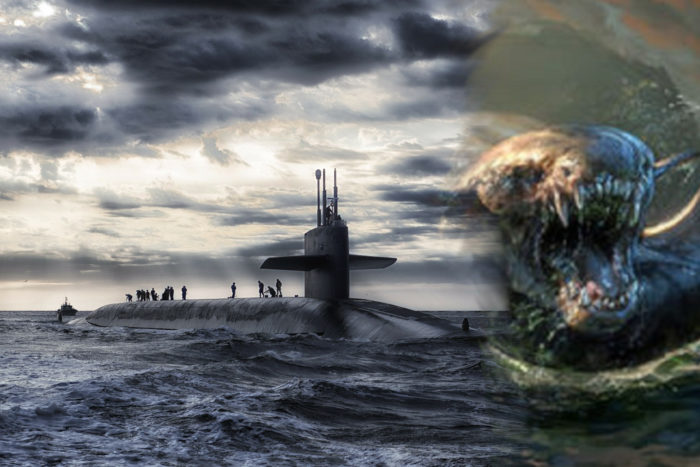 A picture of a submarine blended into a depiction of a sea monster