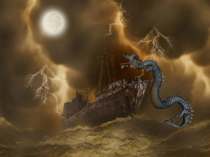 A picture of a sea monster attacking a ship