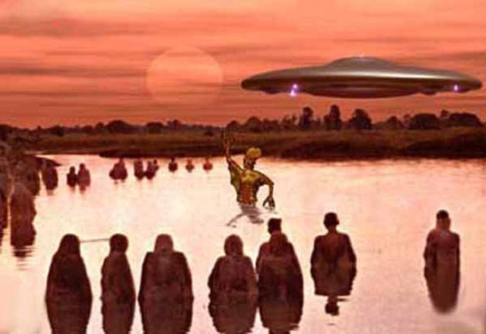 A depiction of aliens in ancient times teaching early humans