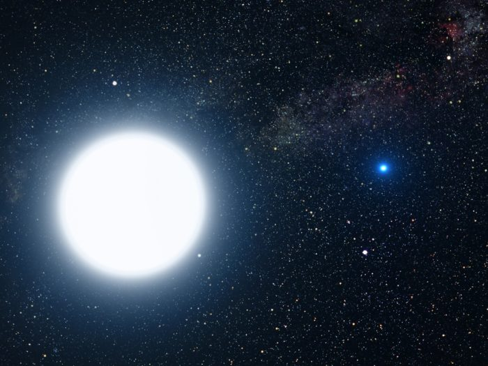 A depiction of a giant white star