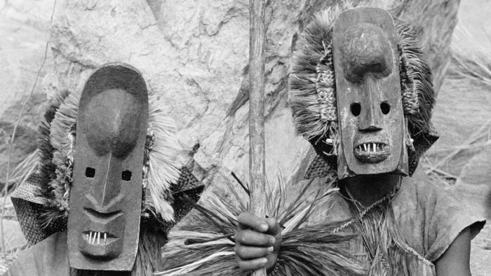 A close-up of members of the Dogon Tribe