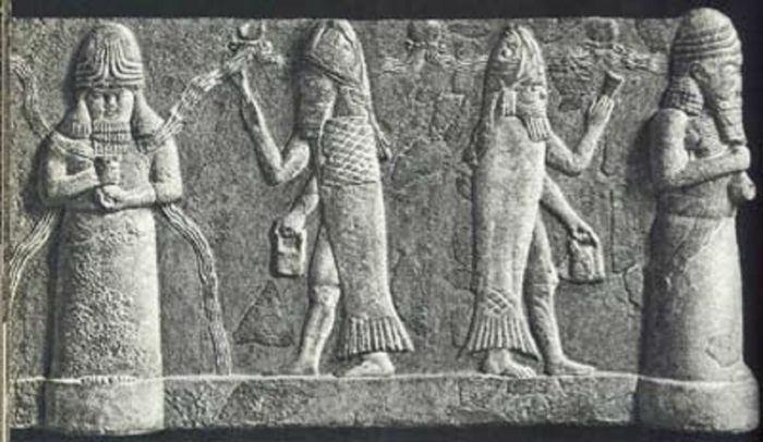 An ancient seal depicting strange aquatic humanoids