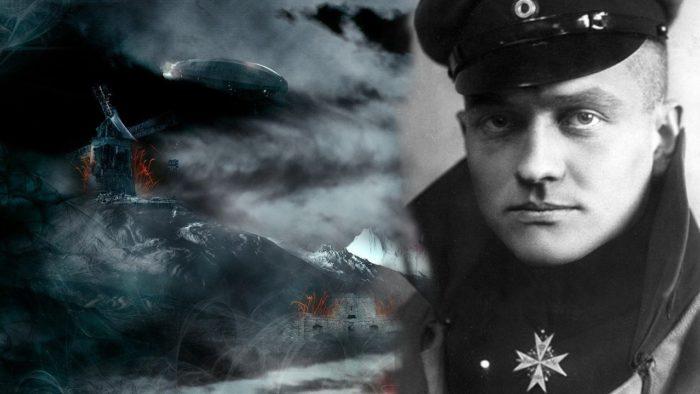 Baron Manfred von Richthofen blended into a First World War battle scene