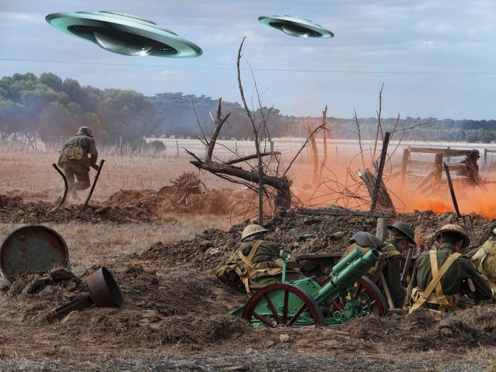A superimposed UFO on a colorized picture of the First World War