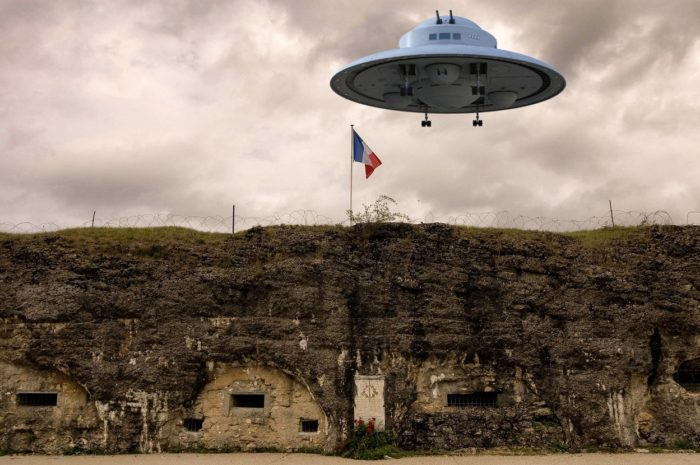 A superimposed UFO on a picture of the remains of a First World War base