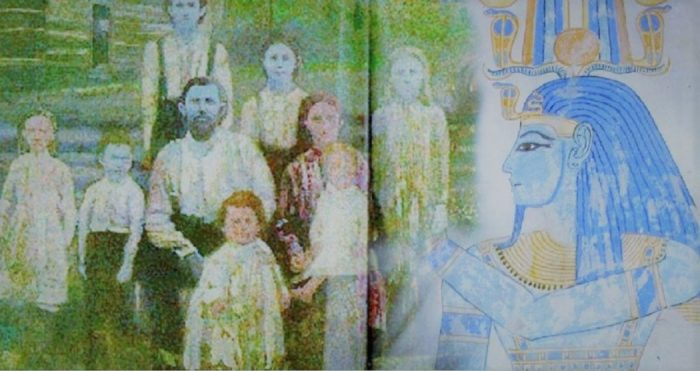 A picture of the Blue People of Kentucky blended into a picture of an Egyptian God