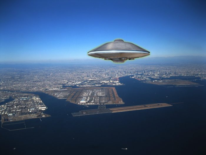 A UFO superimposed onto a picture of the coast of Japan