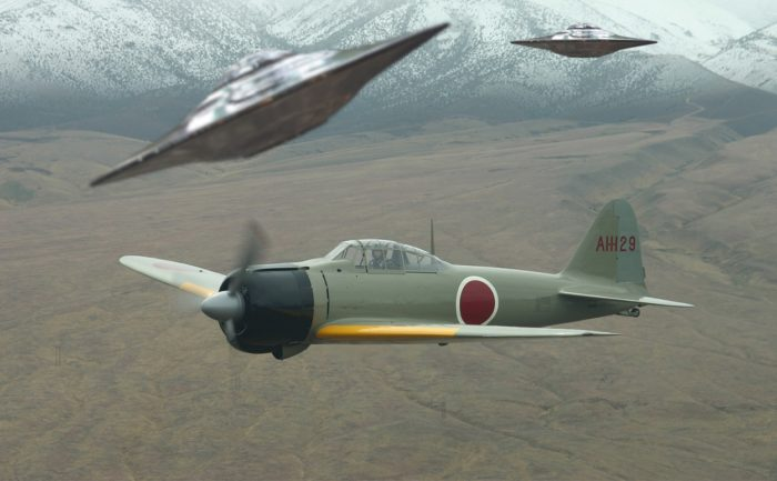 Two flying saucers flying near a World War Two type plane