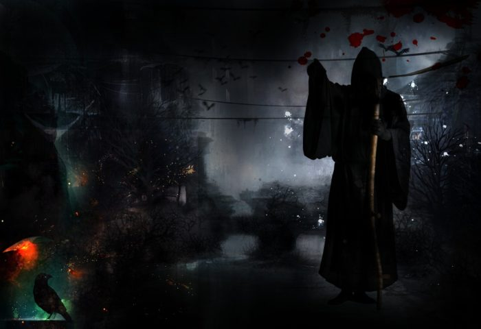 A picture of Death on mystical background