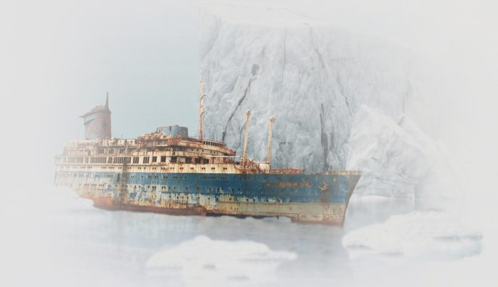 Artist's impression of a Ghost ship on the ice of Antarctica