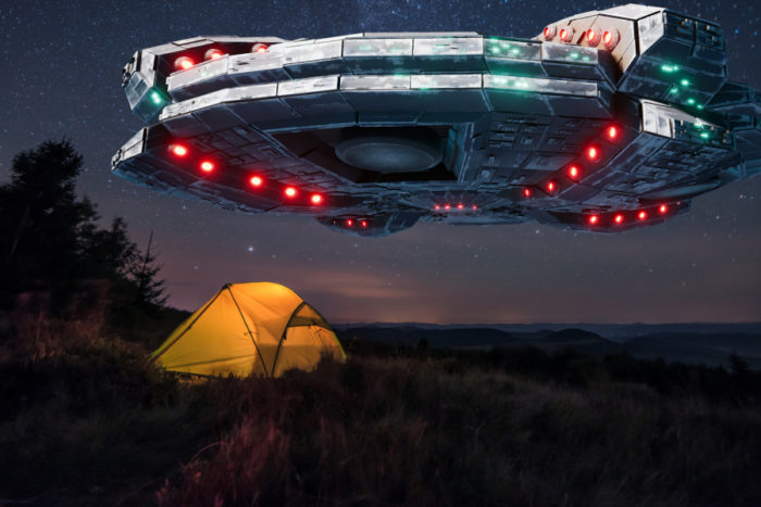 Superimposed UFO over a tent