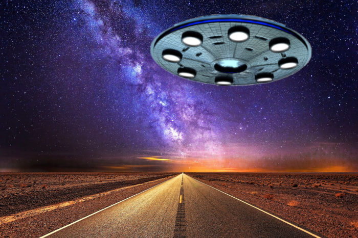 A superimposed UFO on a highway
