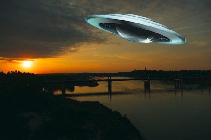 Flying saucer over river