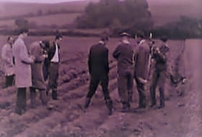 Investigators at the scene of the landing in a field