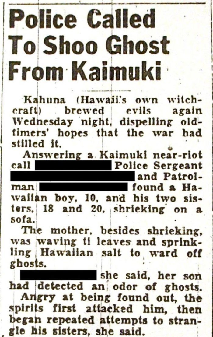 Newspaper report from the The Kaimuki House incident
