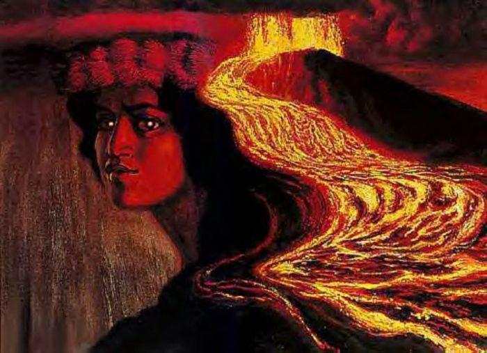 Depiction of the Goddess Pele