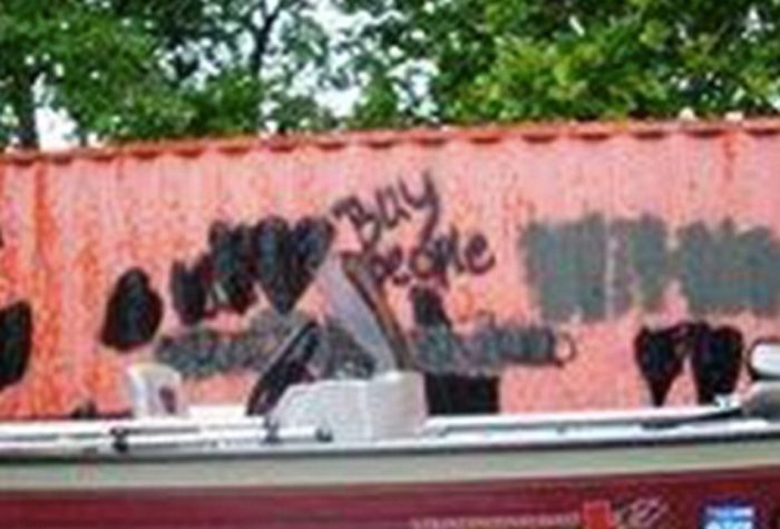 Graffiti left on the trailers at the Jamisons' home