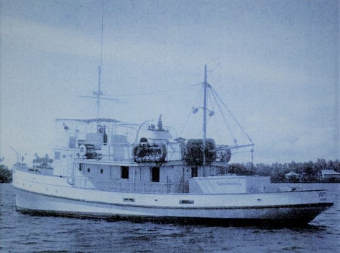 The MV Joyita on the water before the fateful voyage