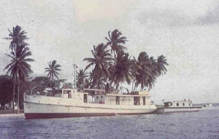 Color picture of the MV Joyita, docked near palm trees in Los Angeles