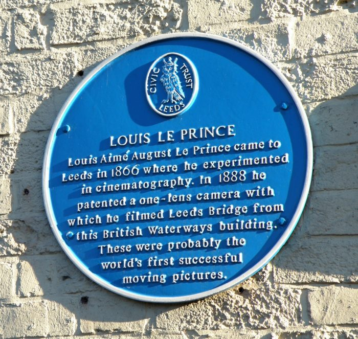 Plaque on a wall in Leeds for Louis Le Prince