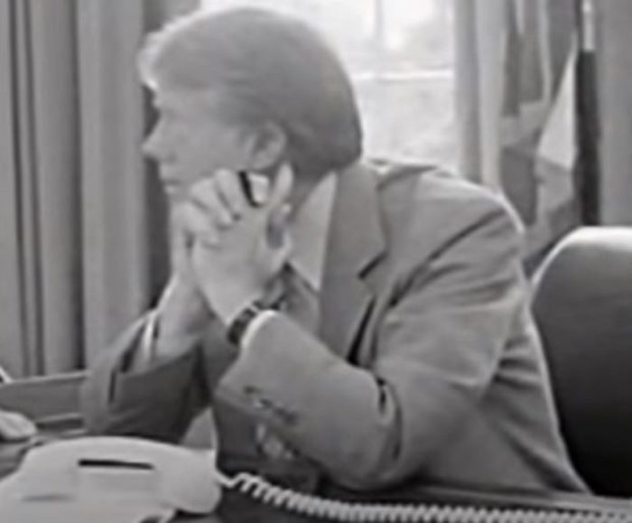 Jimmy Carter speaking on the phone at the White House