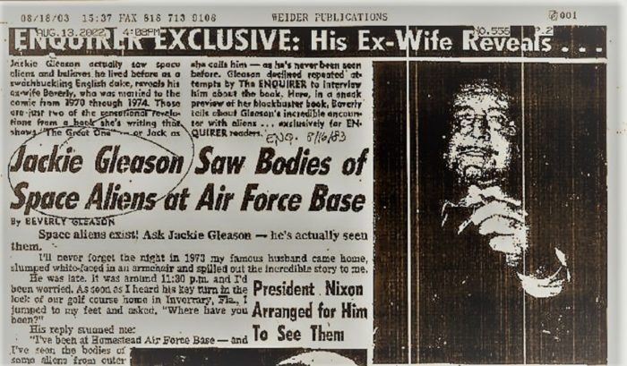 Newspaper clipping of Gleason alien encounter