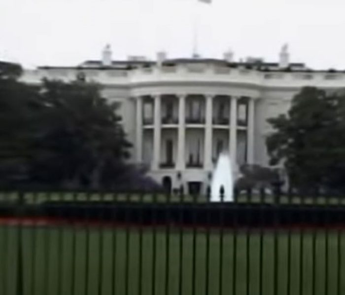 The White House viewed from the outside fence