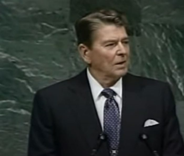 Ronald Reagan speaking publicly while President