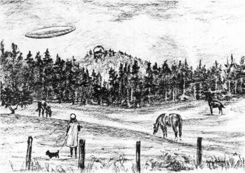 A witness sketch of the UFO incident in British Columbia