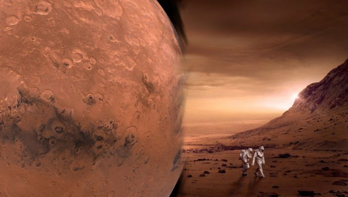 A picture of Mars blended into a depiction of humans walking on the surface of Mars