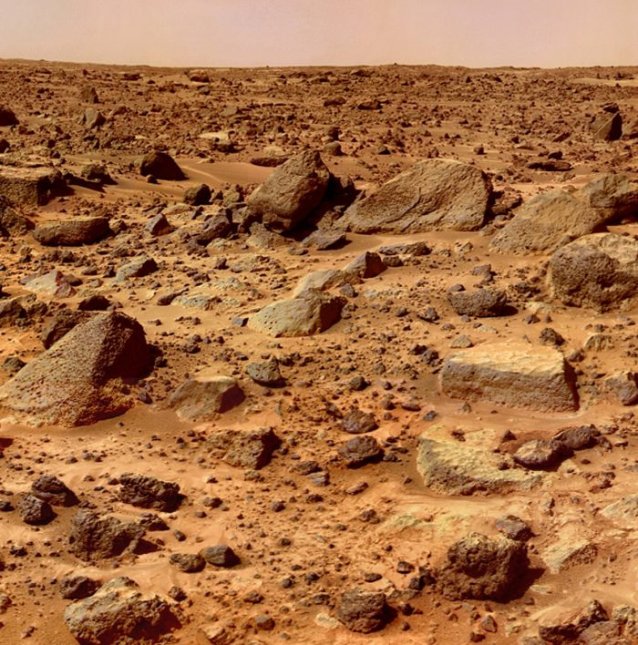 A close-up of the rocky Martian surface