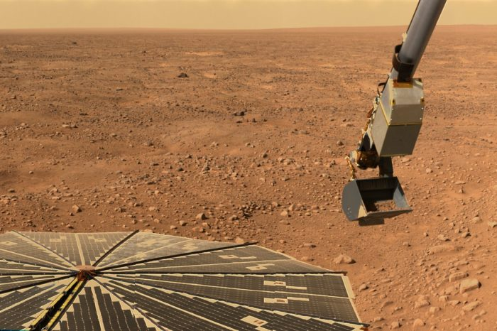 A picture of the Martian surface as taken from the Rover