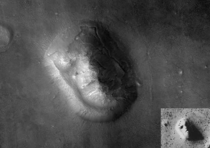 Two pictures several decades apart of the Face on Mars