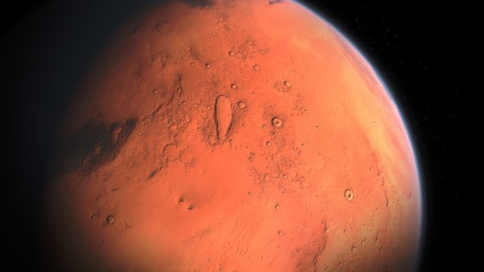 A close-up picture of Mars