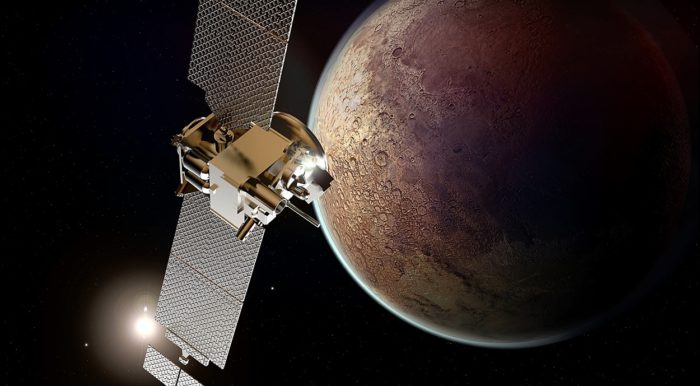 A depiction of satellite in orbit around Mars