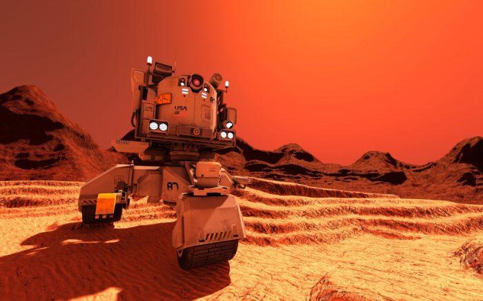 A depiction of a future robot explorer on Mars