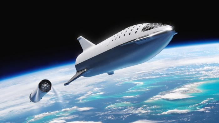 A depiction of a futuristic space shuttle leaving the Earth