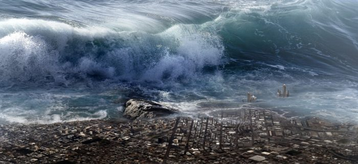A depiction of a huge tidal wave overtaking a city