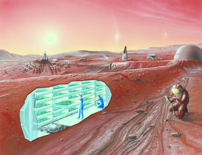 A depiction of a colony on Mars