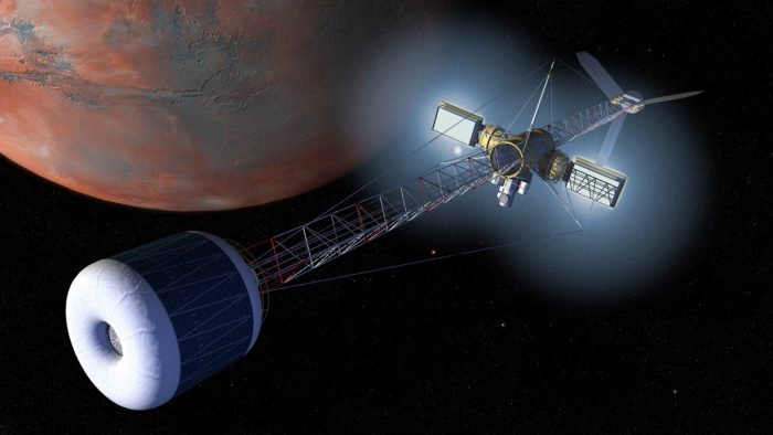 A depiction of a space craft orbiting Mars