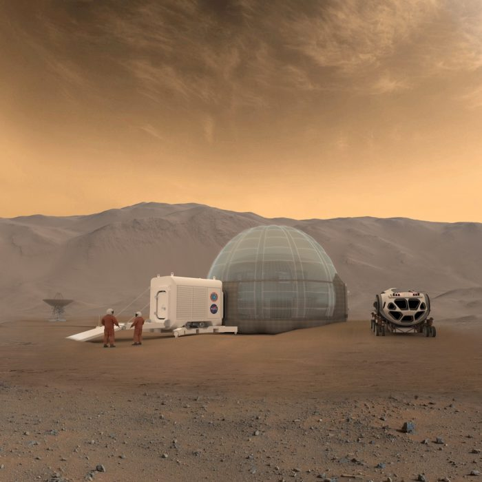 A depiction of a human base on Mars