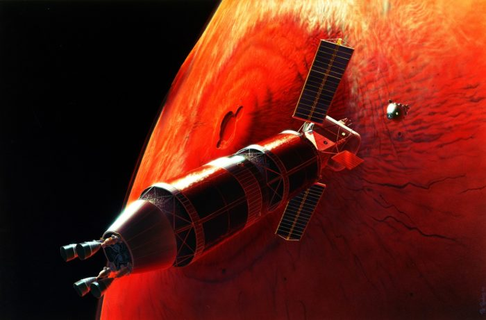 A depiction of a satellite orbiting Mars