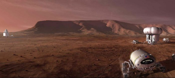 A depiction of robotic workers on Mars