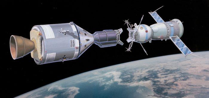 Artist's impression of the Apollo and Soyuz 19 docking
