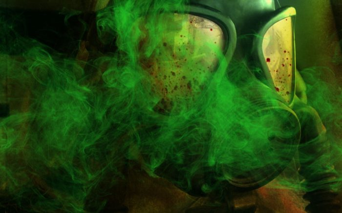 A depiction of someone wearing a gas mask with gas over the top