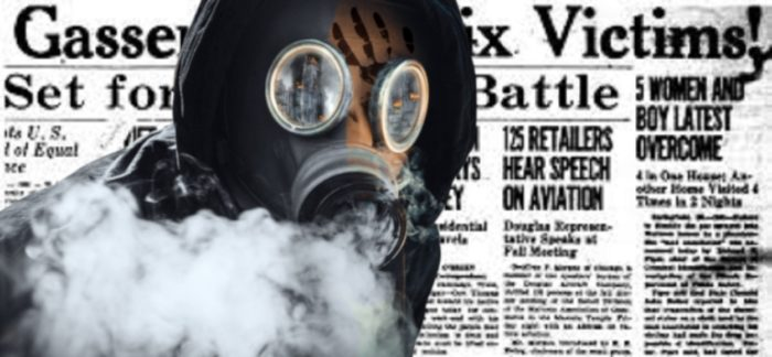 Newspaper clipping with a gas masked man superimposed over the top