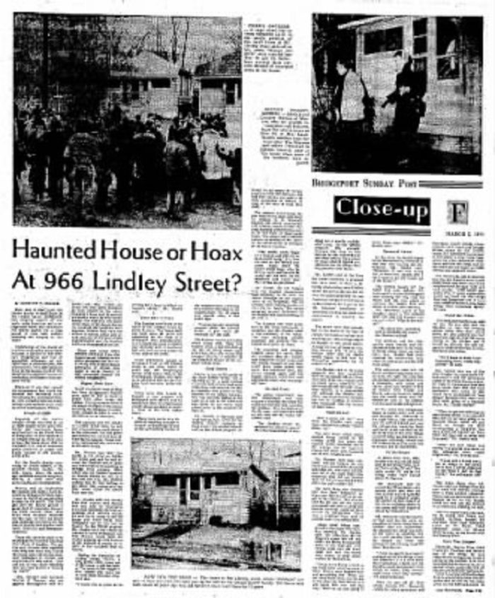 Newspaper report of the haunting on Lindely Street
